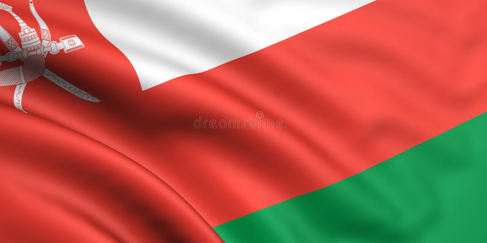 Flag Of Oman. 3d rendered and waving flag of oman royalty free illustration