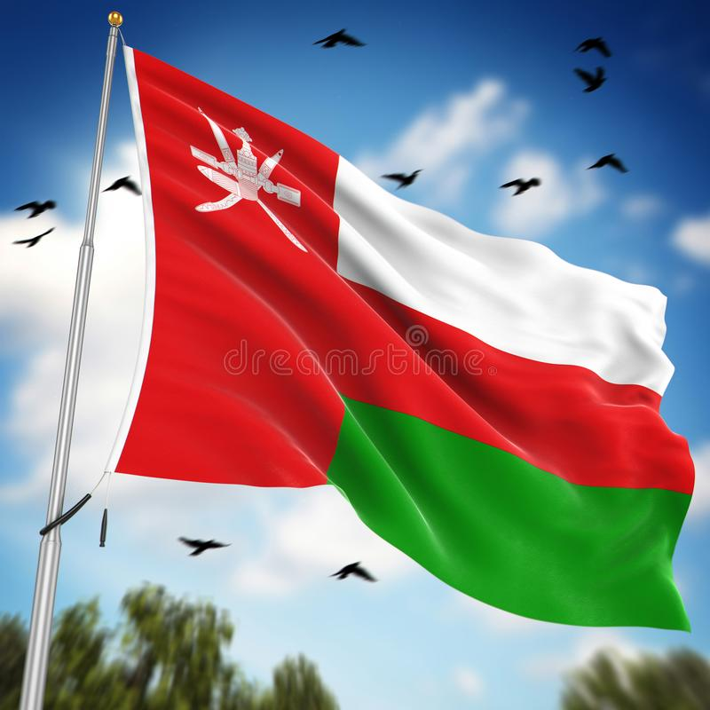 Flag of Oman. This is a computer generated and 3d rendered image royalty free illustration