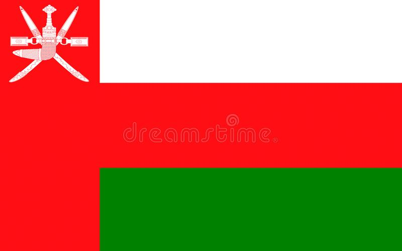 Flag of Oman. Officially the Sultanate of Oman is an Arab country in the southeastern coast of the Arabian Peninsula stock illustration