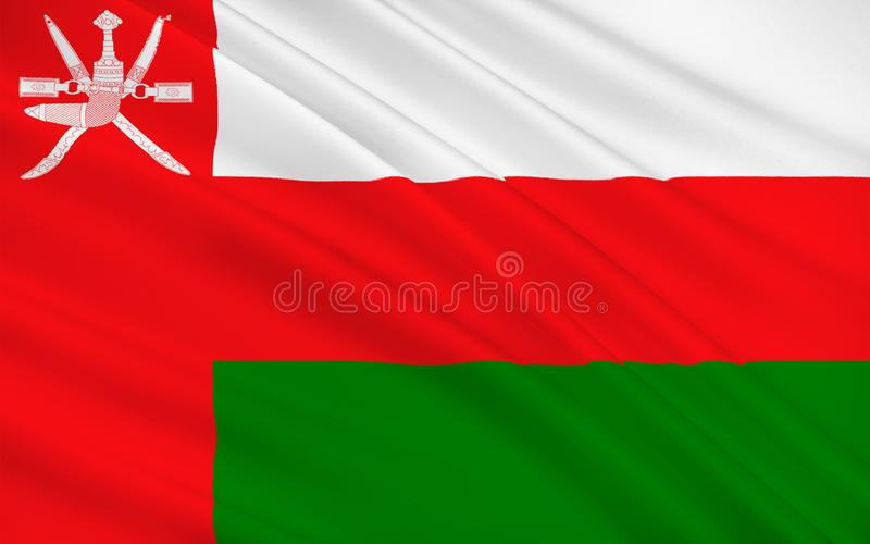 Flag of Oman. Officially the Sultanate of Oman is an Arab country in the southeastern coast of the Arabian Peninsula. 3d illustration stock illustration