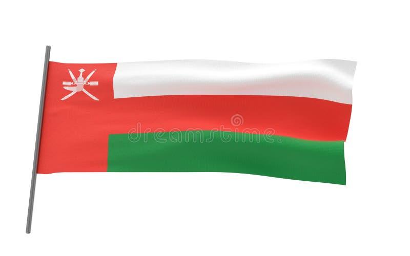 Flag of Oman. Illustration of a waving flag of Oman. 3d rendering royalty free illustration