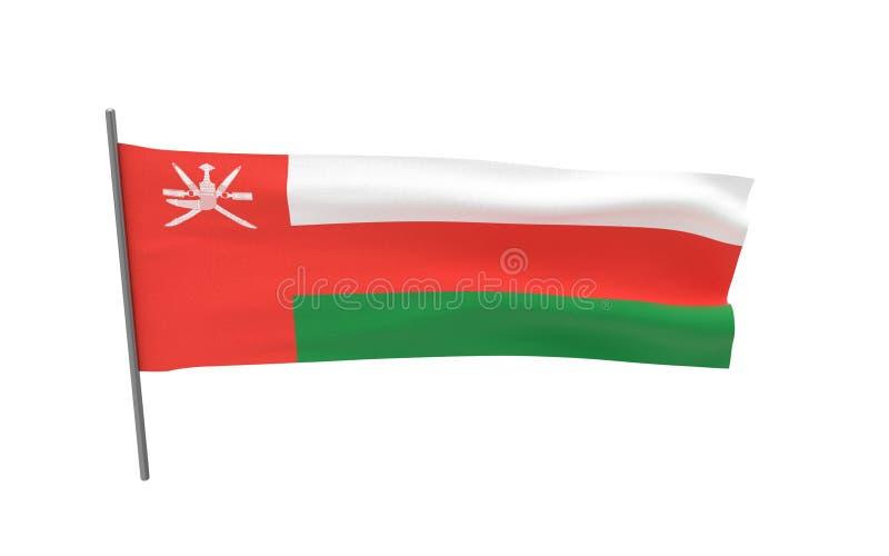 Flag of Oman. Illustration of a waving flag of Oman. 3d rendering stock illustration