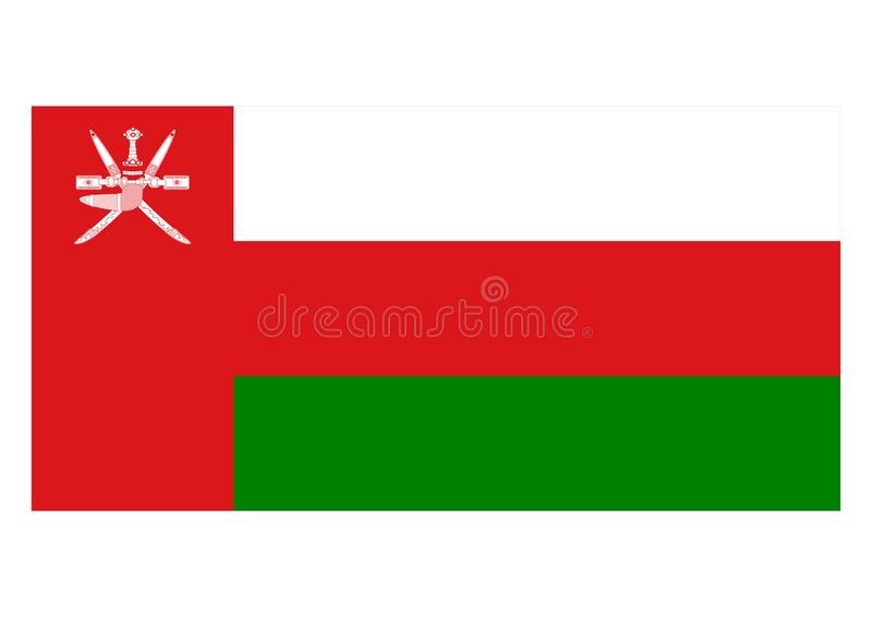 Flag of Oman. Vector format ai aviable red white green stripes middle east arabian vector illustration