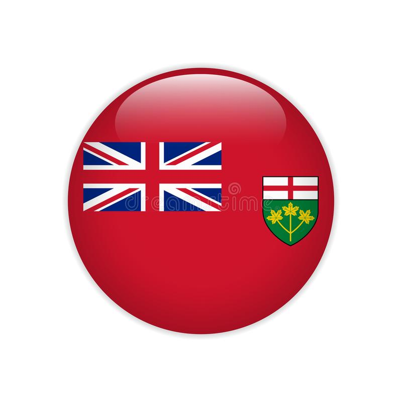 Flag of Ontario button. Signs and Symbols stock illustration