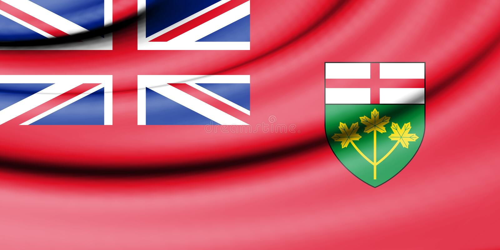 Flag of Ontario, Canada. 3d Rendered Flag of Ontario, Canada royalty free illustration