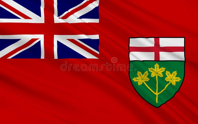 Flag of Ontario, Canada. Flag of Ontario is one of the ten provinces of Canada, located in east-central Canada royalty free illustration