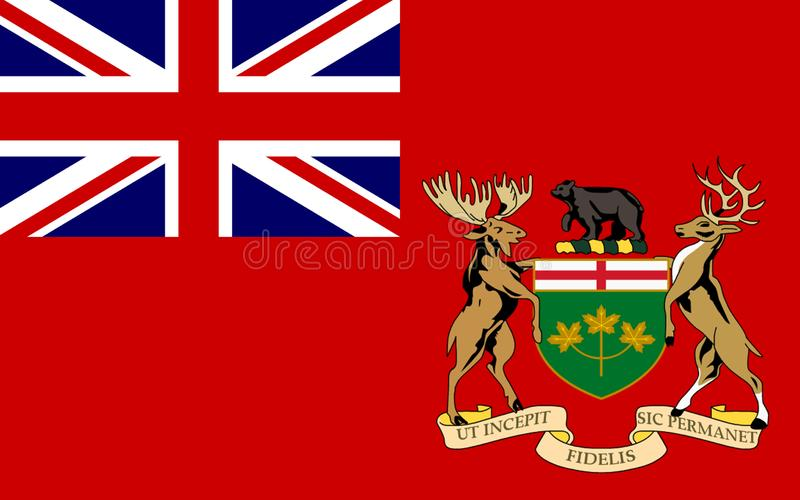 Flag of Ontario, Canada. Flag of Ontario is one of the ten provinces of Canada, located in east-central Canada vector illustration