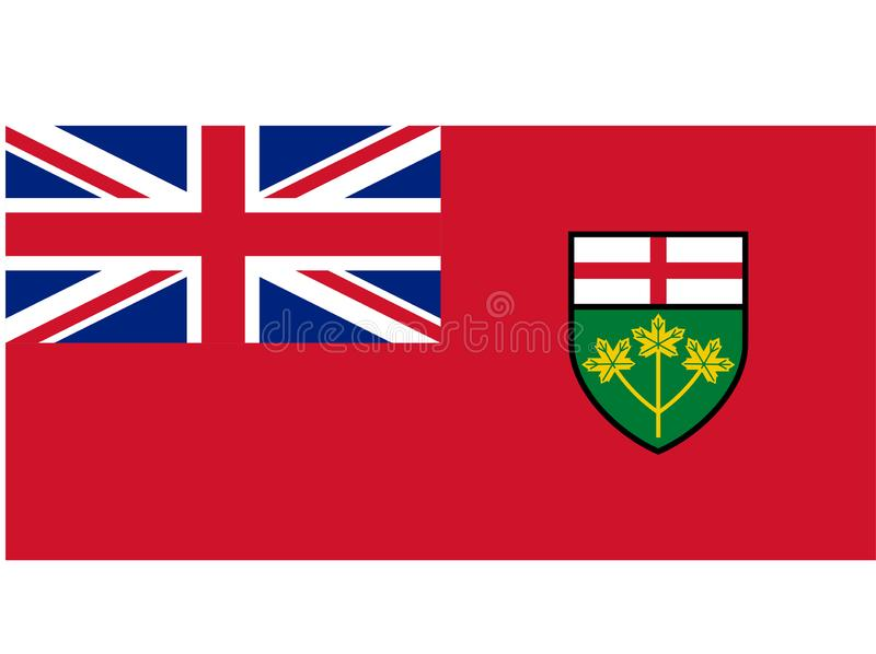 Flag of Ontario. Vector format ai available blue white red union jack stock illustration