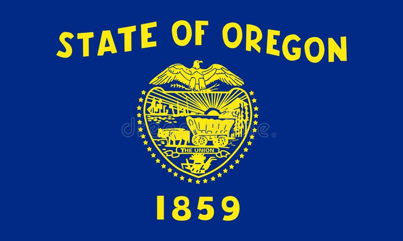 Flag of Oregon. The flag of the state of Oregon is a two-sided flag stock illustration