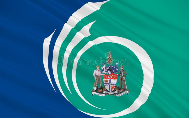 Flag of Ottawa, Canada. Flag of Ottawa is the capital city of Canada. It stands on the south bank of the Ottawa River in the eastern portion of Southern Ontario royalty free illustration