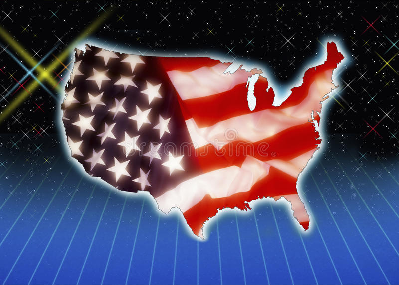 Download Flag And Outline Of The USA Stock Illustration - Image: 15157838