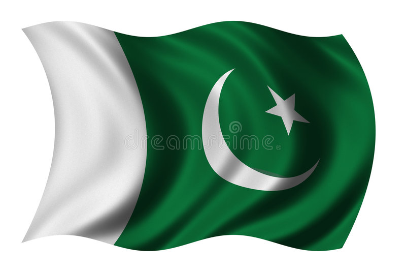 Flag of Pakistan. Waving in the wind - clipping path included royalty free illustration