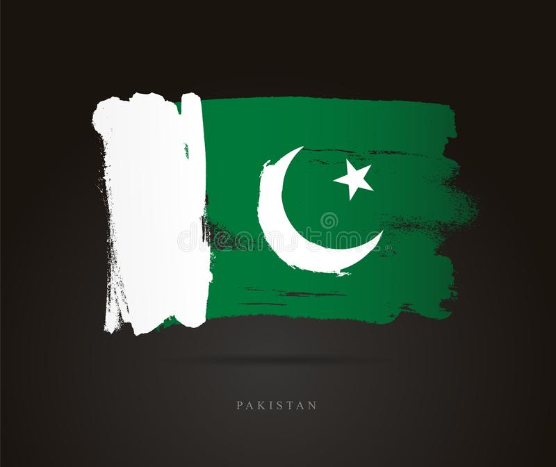 Flag of Pakistan. Abstract concept. Flag of Pakistan. Vector illustration on a black background. Beautiful brush strokes. Abstract concept. Elements for design stock illustration