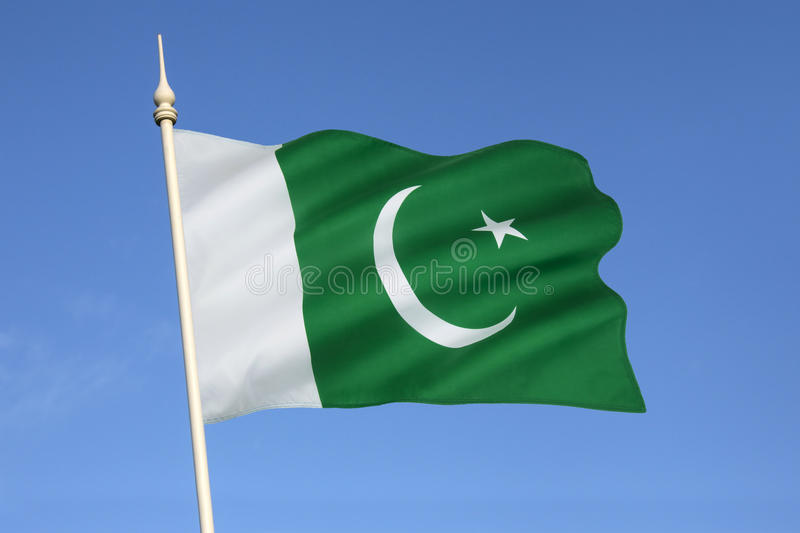Flag of Pakistan. The national flag of Pakistan was adopted in its present form during a meeting of the Constituent Assembly on August 11, 1947, three days royalty free stock photography