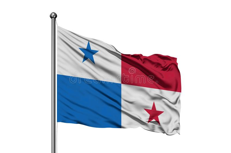 Flag of Panama waving in the wind, isolated white background. Panamanian flag royalty free stock photos