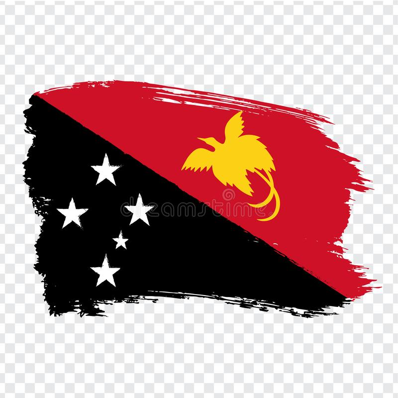 Flag Papua New Guinea from brush strokes. Flag of Papua New Guinea on transparent background for your web site design, logo, app, royalty free stock photos