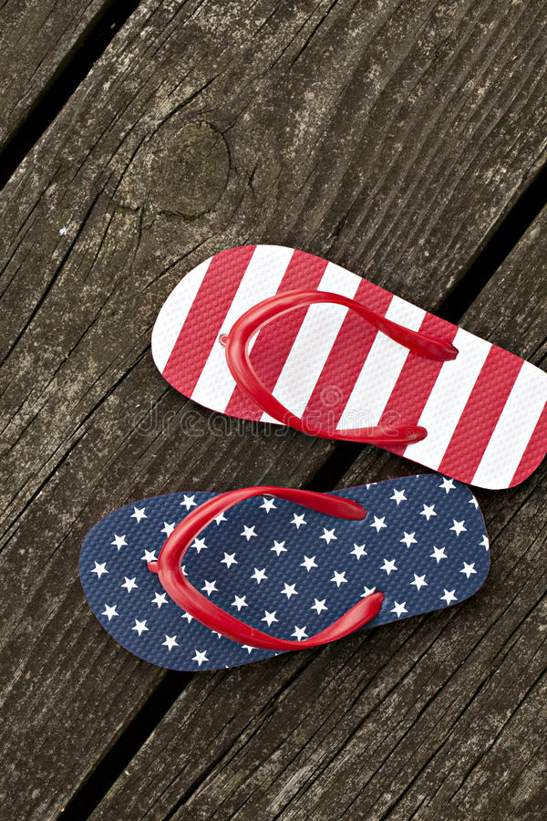Flag Patterned Thong Shoes Royalty Free Stock Photography