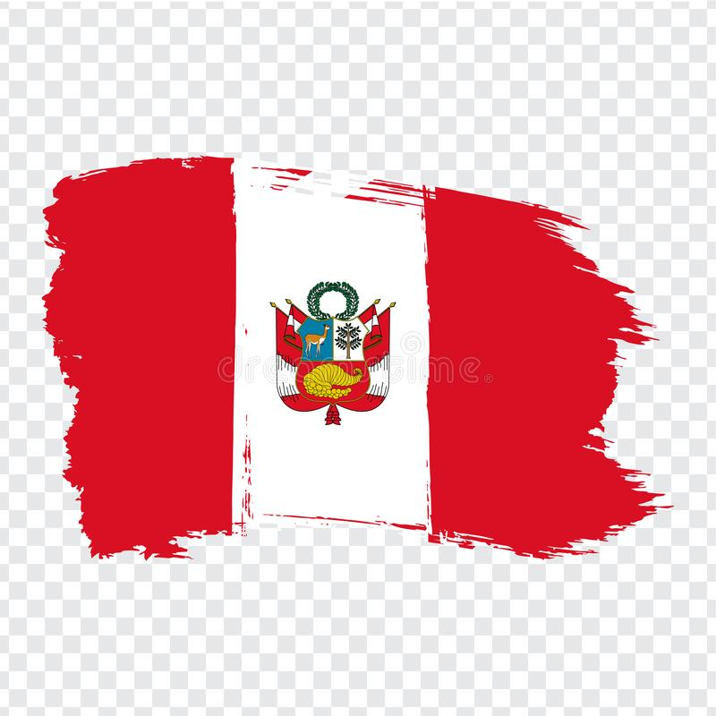 Flag of  Peru from brush strokes.  Flag Peru on transparent background for your web site design, logo, app, UI. Stock vector. Vector illustration EPS10 stock illustration