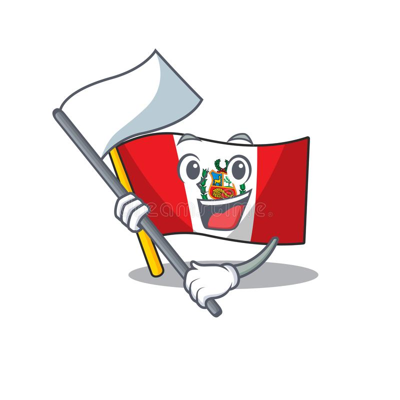 With flag peru flag stored in character drawer. Vector illustration stock illustration