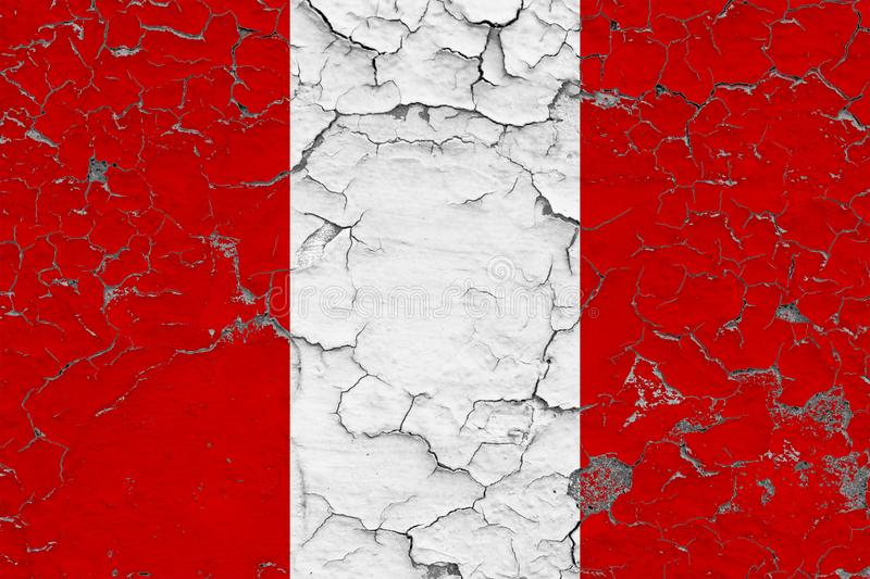 Flag of Peru painted on cracked dirty wall. National pattern on vintage style surface vector illustration