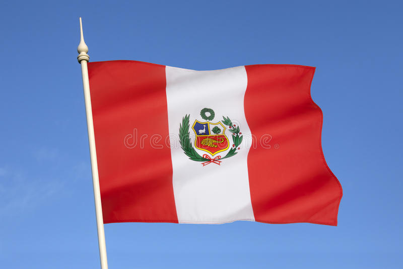 Flag of Peru - South America. The national flag of Peru was adopted by the government of Peru in 1825. Flag day in Peru is celebrated on June 7, the anniversary royalty free stock photo