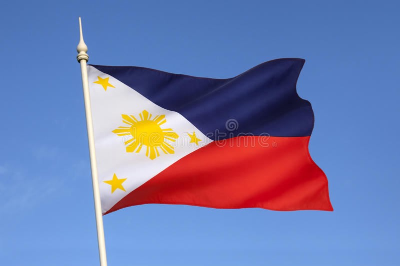 Flag of the Philippines. The National Flag of the Philippines. This flag can indicate a state of war if it is displayed with the red side at the top stock image