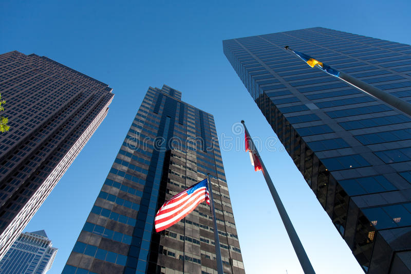 Flag in Philly with Buildings stock image