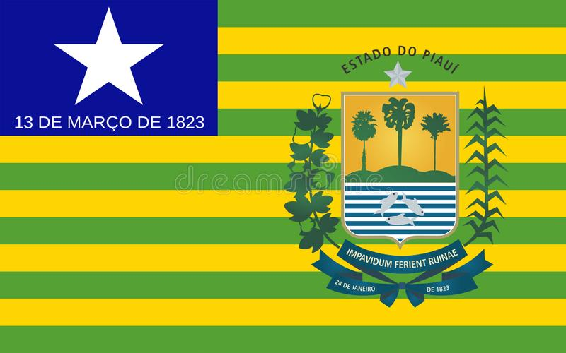 Flag of Piaui, Brazil. Flag of Piaui is one of the states of Brazil. 3d illustration royalty free stock photography
