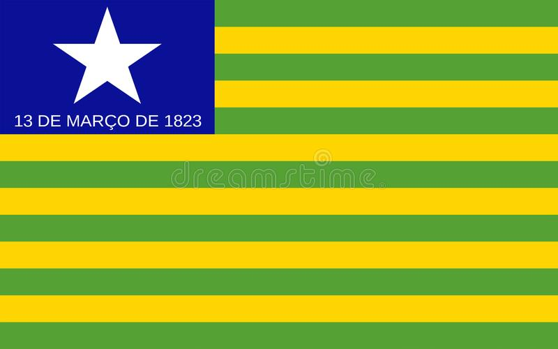 Flag of Piaui, Brazil. Flag of Piaui is one of the states of Brazil. 3d illustration royalty free stock images
