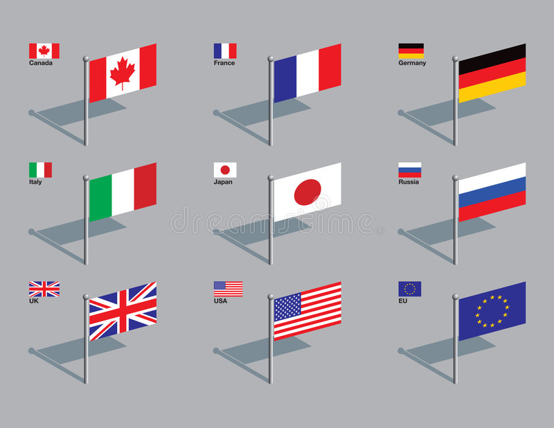 Flag Pins - G8. The flags of the members of the G8: Canada, France, Germany, Italy, Japan, Russia, UK, USA, plus the flag of the EU. Drawn in CMYK and placed on