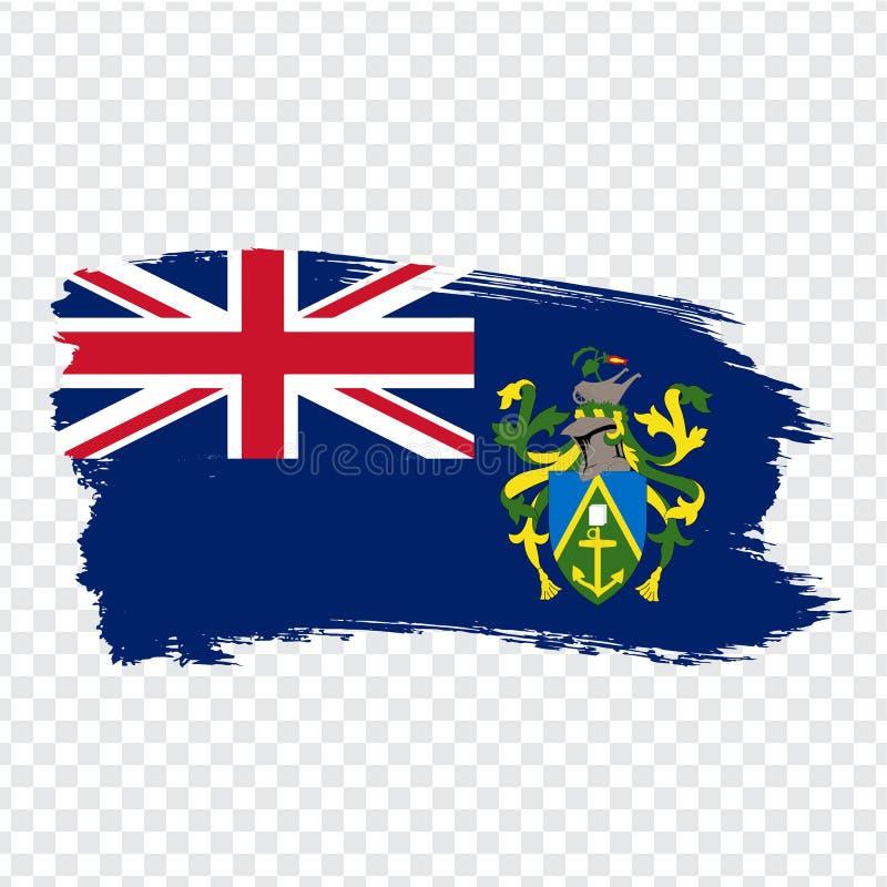 Flag Pitcairn Islands from brush strokes. Flag Pitcairn Islands on transparent background for your web site design, logo, app, UI. Oceania. Stock vector stock illustration