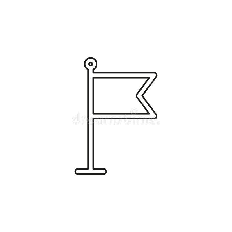 Flag pointer sign icon. Location marker symbol. Thin line pictogram - outline editable stroke stock illustration