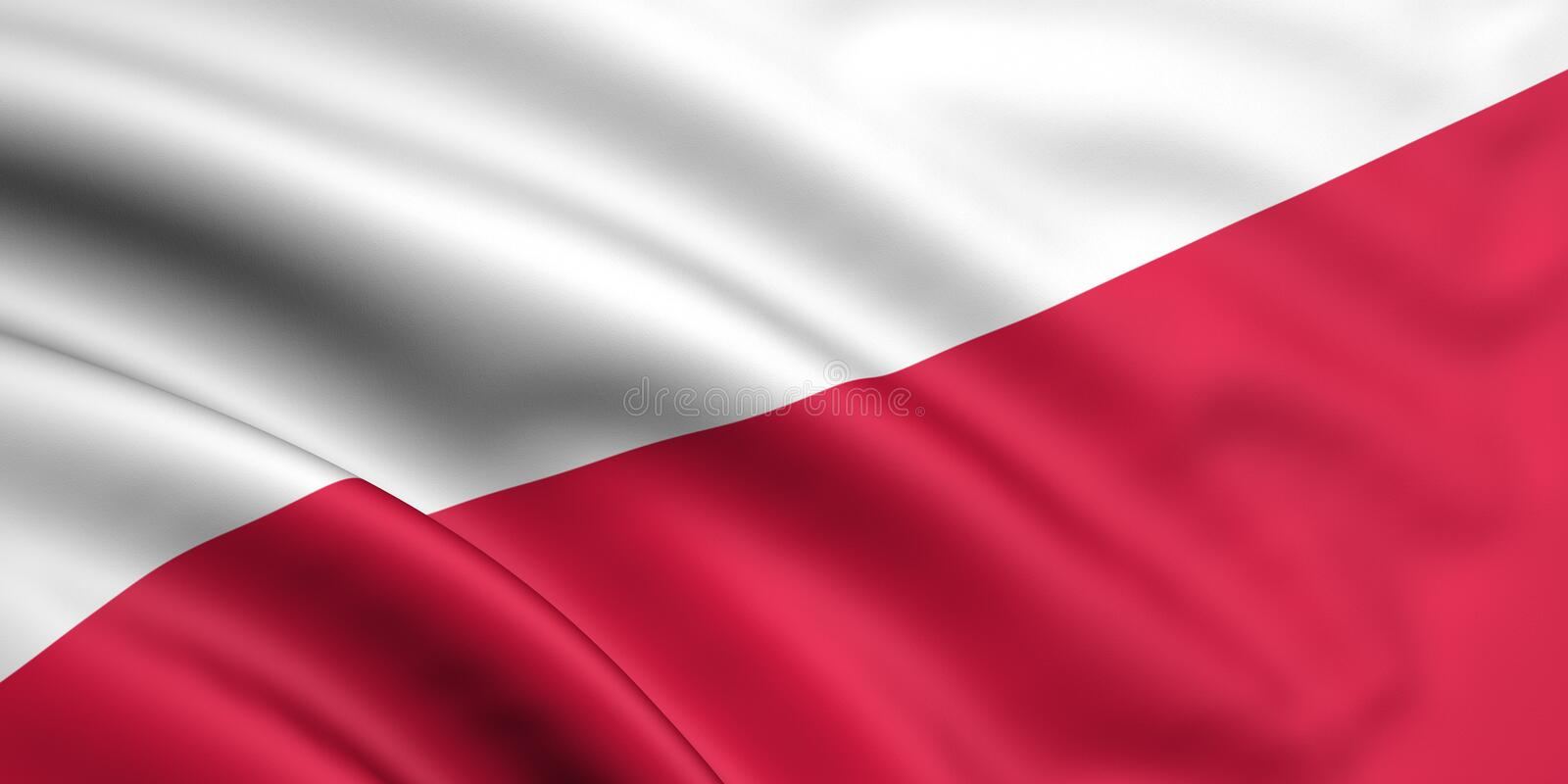 Flag Of Poland. 3d rendered and waving flag of poland stock illustration