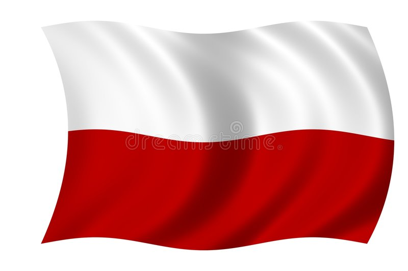 Flag of Poland. Waving flag of Poland vector illustration