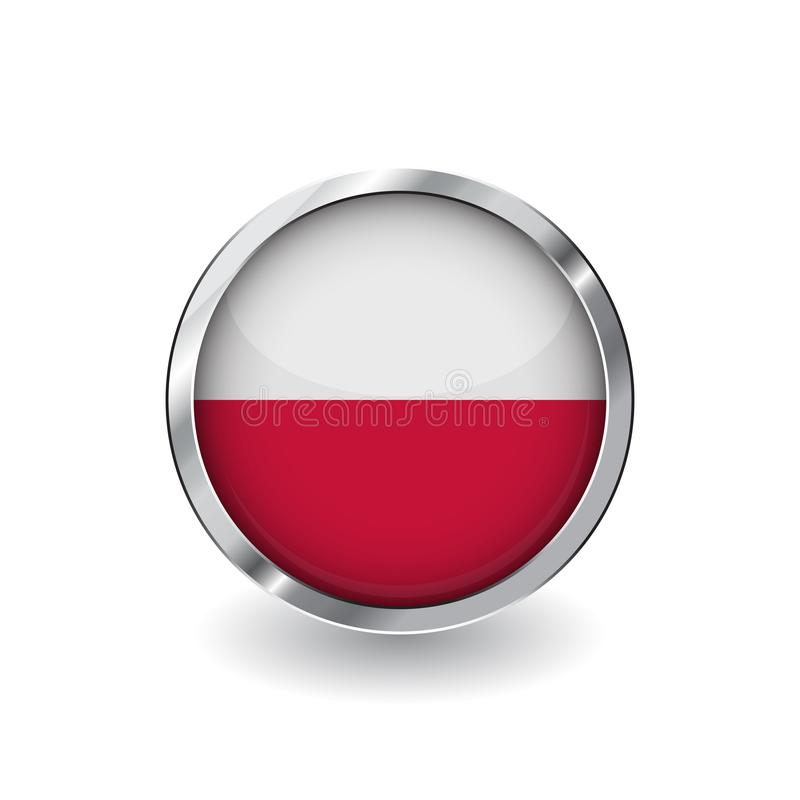 Flag of poland, button with metal frame and shadow. poland flag vector icon, badge with glossy effect and metallic border. Realist. Ic vector illustration on vector illustration