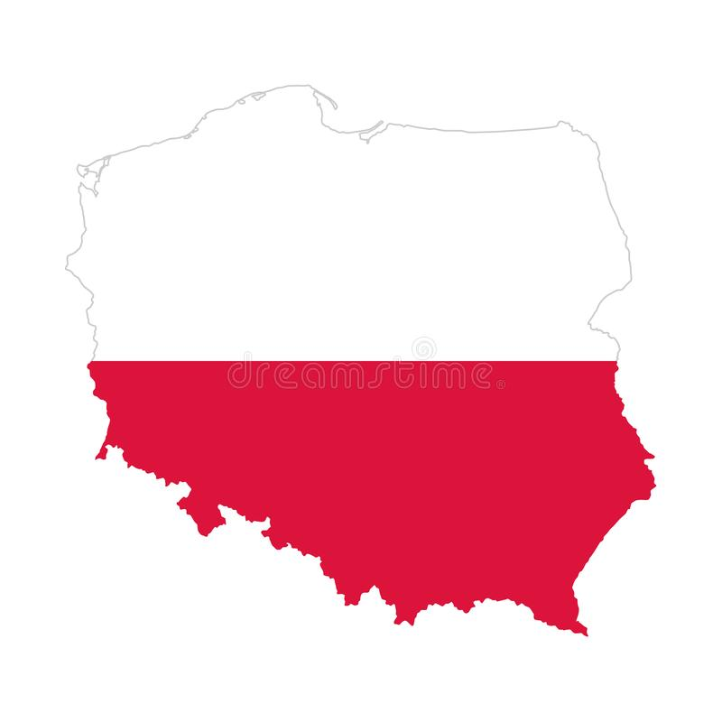 Flag of Poland in the country silhouette vector illustration