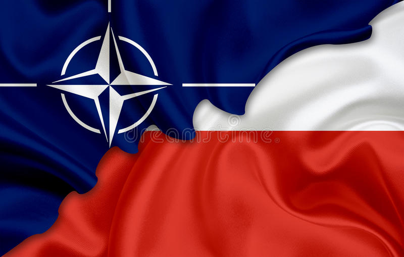 Flag of Poland and flag of NATO. On woven fabric texture vector illustration