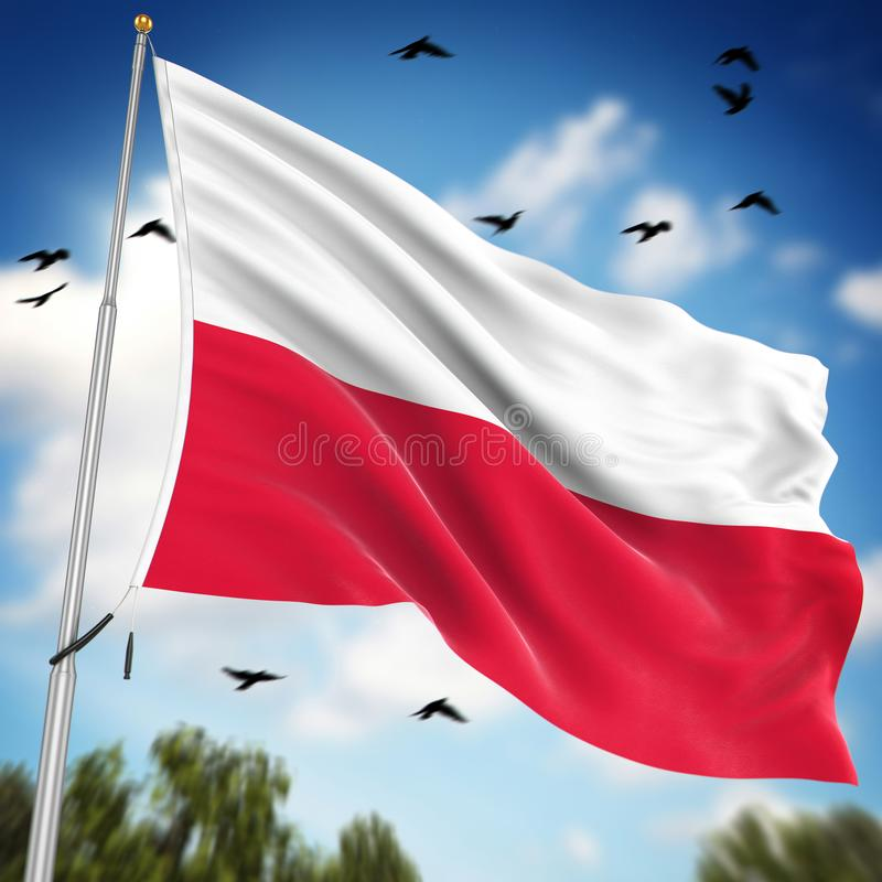 Flag of Poland. This is a computer generated and 3d rendered image stock illustration
