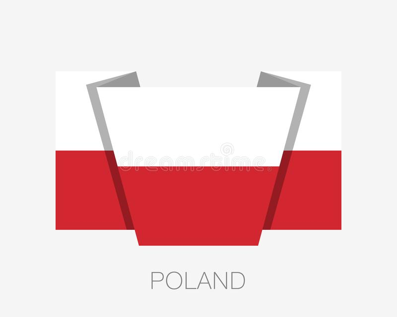 Flag of Poland. Flat Icon Waving Flag with Country Name vector illustration
