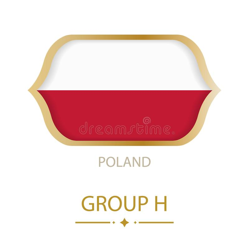The flag of Poland is made in the style of the Football World Cup vector illustration