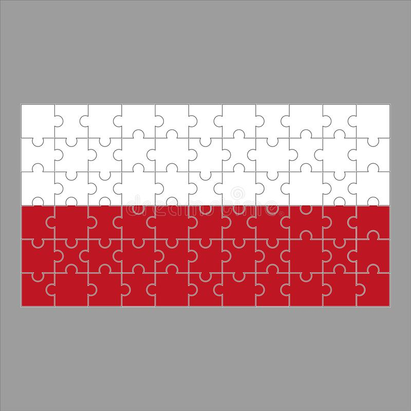 Flag of Poland puzzle on gray background. vector illustration