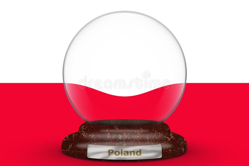 Flag of Poland on snow globe stock illustration