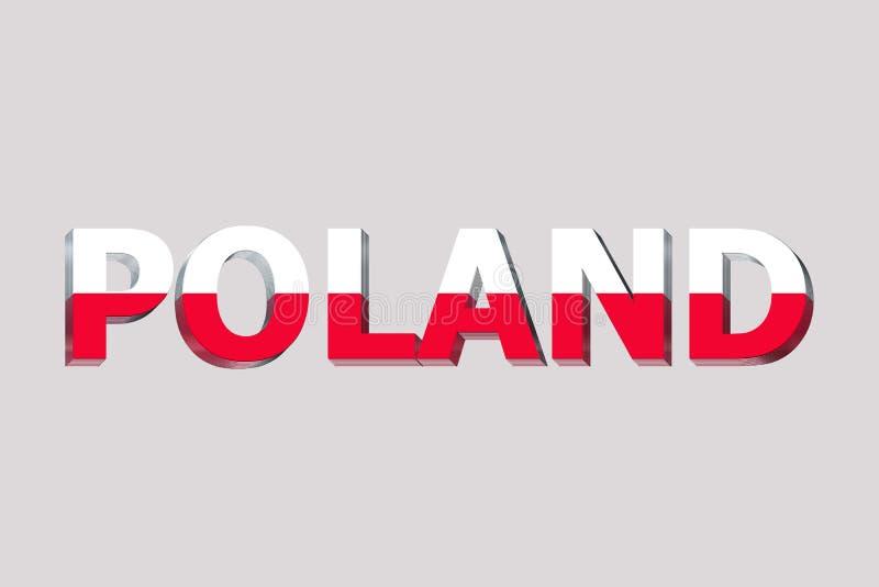 Flag of Poland on text. Background royalty free illustration