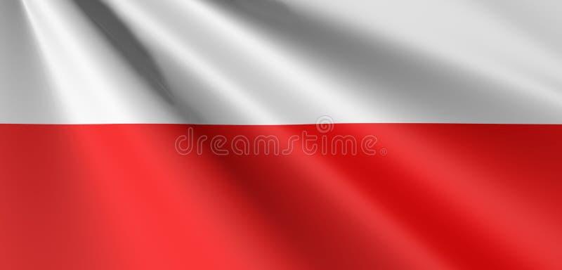 Flag of Poland waving. Flag of Poland, polandish flag, poland flag waving stock illustration