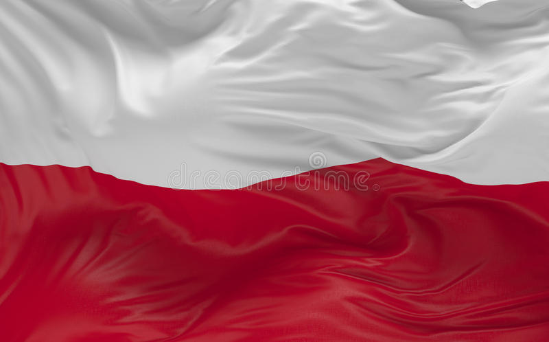 Flag of the Poland waving in the wind 3d render royalty free illustration