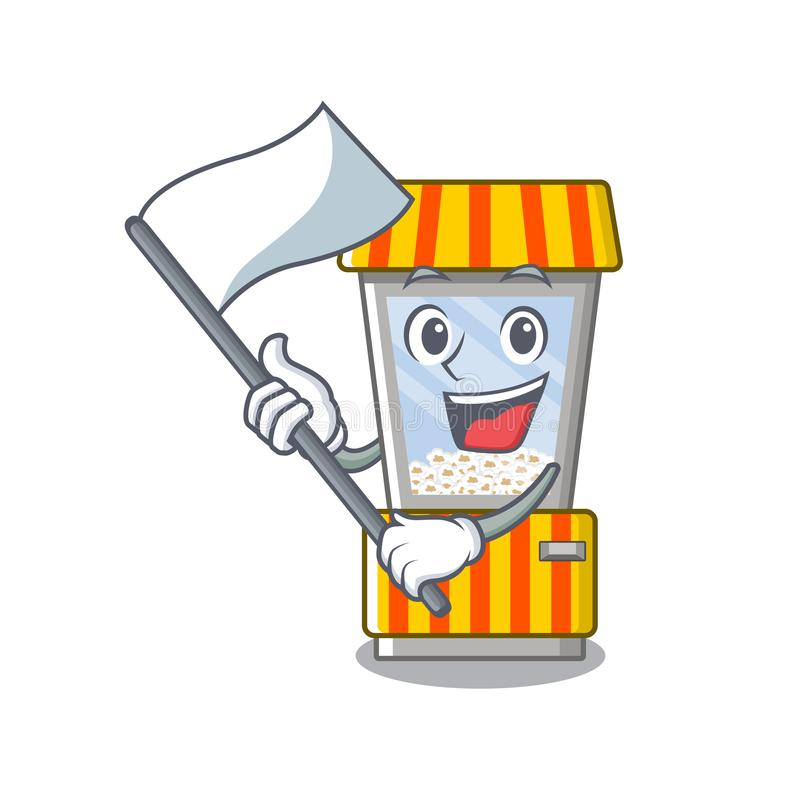 With flag popcorn vending machine in mascot shape. Vector illustration stock illustration