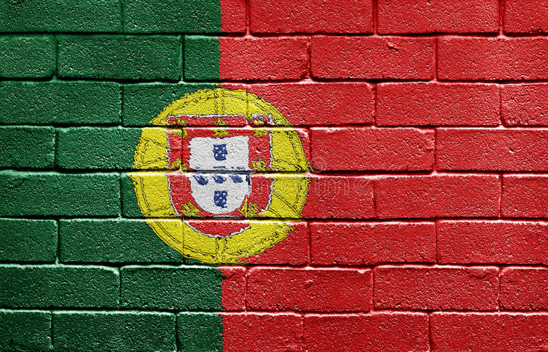 Flag of Portugal on brick wall royalty free stock image