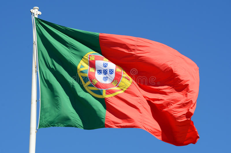 Flag Of Portugal In The Wind Royalty Free Stock Photography