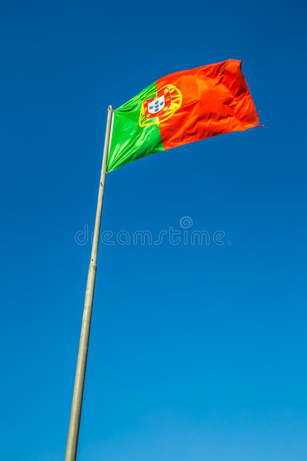 Flag of Portugal in the wind, Lisbon, Portugal.  stock images