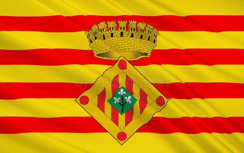Flag of The Province of Lleida is one of the four provinces of C. Atalonia. It lies in north-eastern Spain stock photography